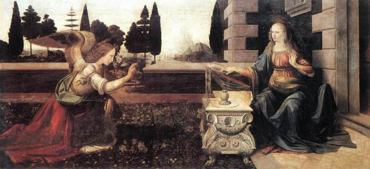 Leonardo da Vinci_Annunciation_1472-75_Tempera on wood_Uffizi_Florence
